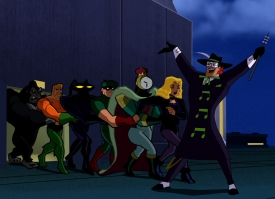 """Conga line from musical episode of """"Batman: The Brave and the Bold"""""""