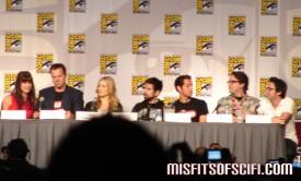 Chuck Panel - Sarah Lancaster, Adam Baldwin, Yvonne Strahovski, Joshua Gomez, Zachary Levi, creators Chris Fedak & Josh Schwartz