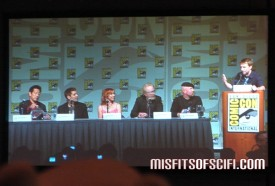 Mythbusters panel - the cast & slightly blurry moderator Chris Hardwick