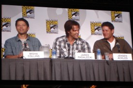 Supernatural Panel - Misha Collins, Jared Padalecki & a blurry Jensen Ackles