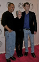 Phil Morris (Seinfeld, Smallville), dialogue/casting director Andrea Romano, and Kevin Conroy (Batman: The Animated Series) at New York premiere 2/13/12. Photo courtesy of Gary Miereanu.
