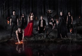 THE VAMPIRE DIARIES (L-R) Ian Somerhalder, Paul Wesley, Nina Dobrev (in both black dress and red skirt), Zach Roerig, Kat Graham, Steven R. McQueen, Candice Accola and Michael Trevino star in Warner Bros. Television's The Vampire Diaries, returning October 2 and airing Thursdays 8/7c on The CW. (Photo Credit: © Warner Bros. Entertainment Inc. All Rights Reserved.)